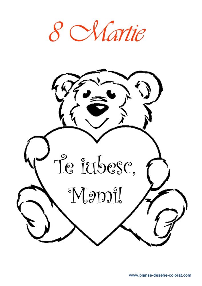 Desene De Colorat De Ziua Mamei Ursulet Inima