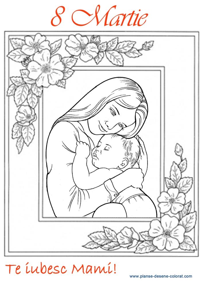 desene de colorat mama cu copilul